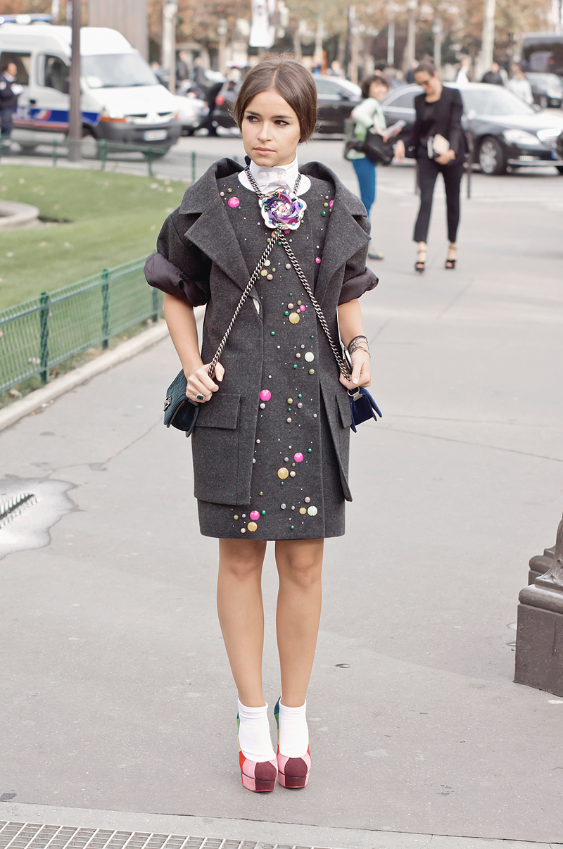 Miroslava Duma before Chanel SS13 in Paris