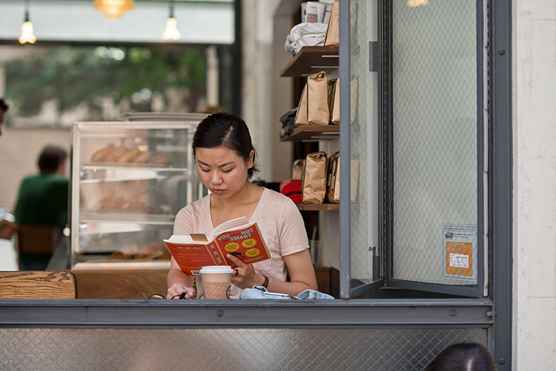 woman reading in new york