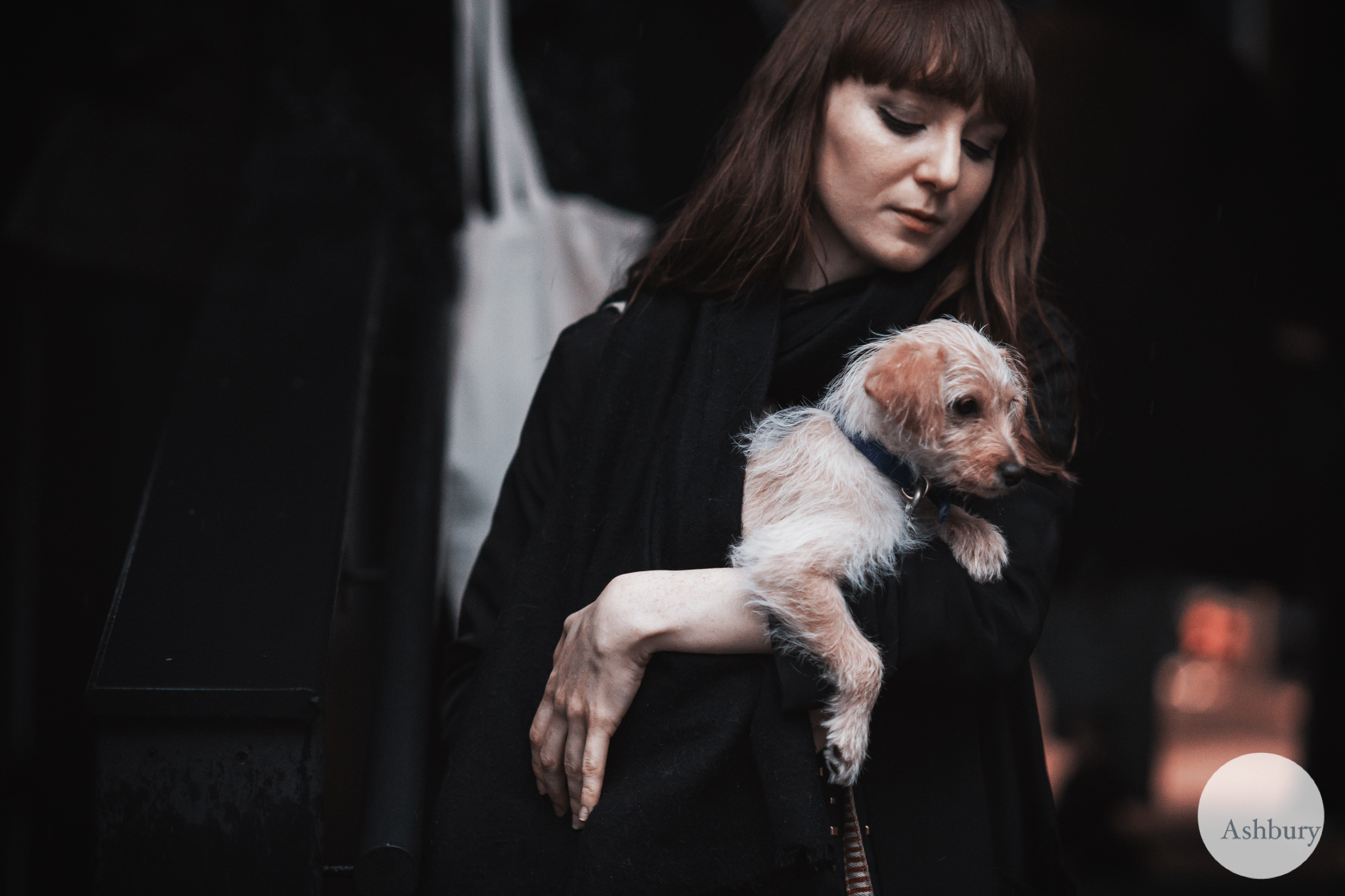 london fashion - a girl and her dog