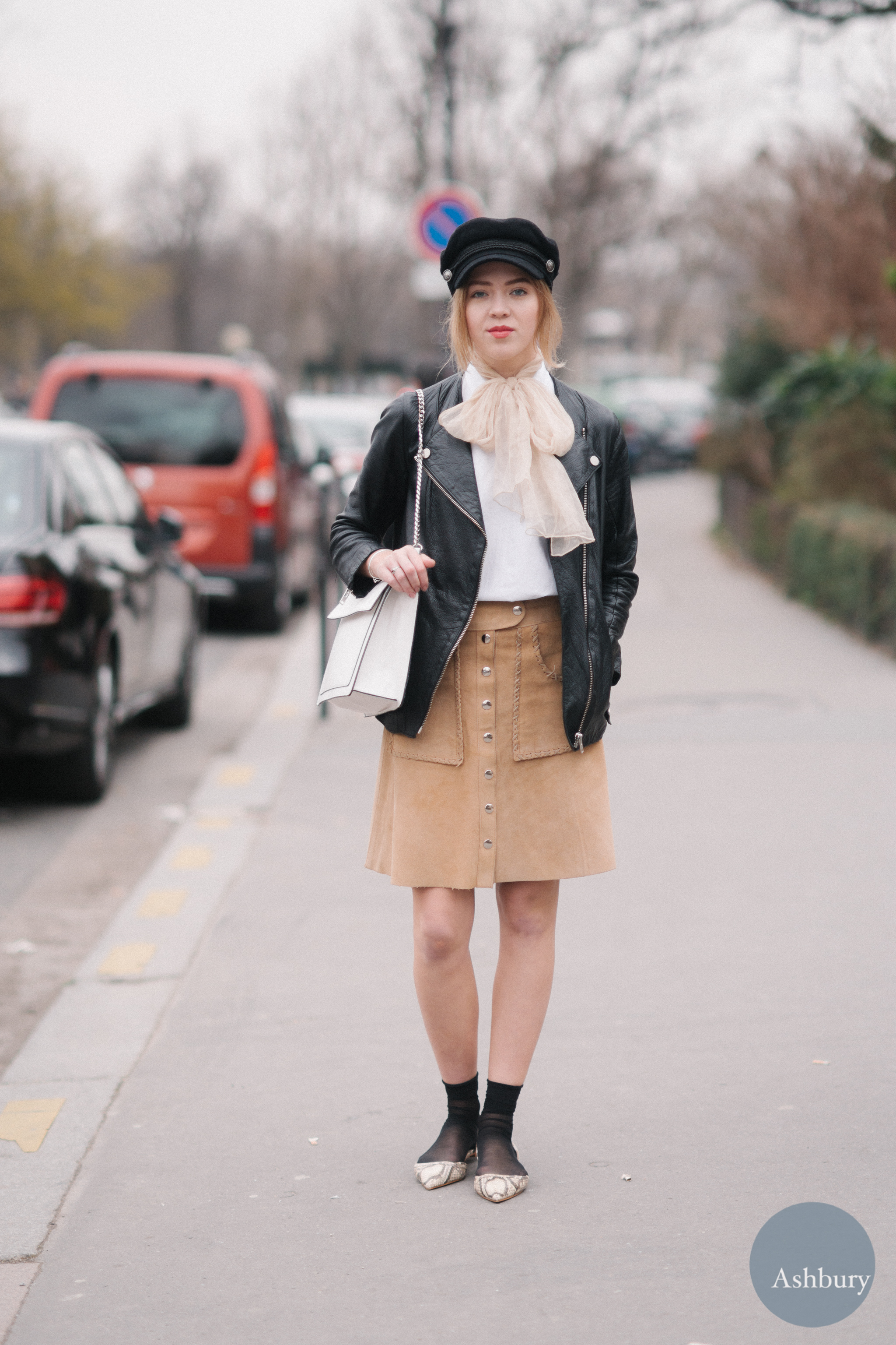 paris street style - leather jacket